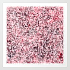 Burgundy red and white swirls doodles Art Print