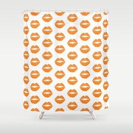 Orange LIps Shower Curtain