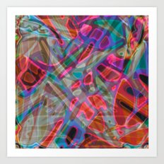 Colorful Abstract Stained Glass G297 Art Print