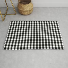 Small Black White Gingham Checked Square Pattern Rug