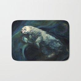 Polar Bear Swimming in Northern Lights Bath Mat