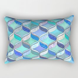 Patchwork Ribbon Ogee Pattern in Blues & Greens Rectangular Pillow