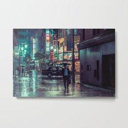 The Smiling Man // Rainy Tokyo Nights Metal Print