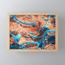 Crumpled fishnet with buoys on rope Framed Mini Art Print