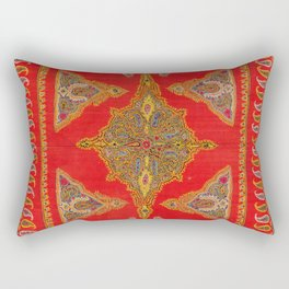 Kirman  Antique South Persian Embroidery Print Rectangular Pillow
