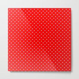 Mini White Love Hearts on Australian Flag Red Metal Print