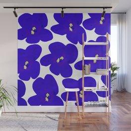 Blue Retro Flowers #decor #society6 #buyart Wall Mural