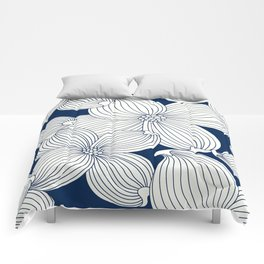Dogwood Big Linear Floral: Navy Ivory Comforters