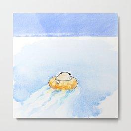 Pug on the Water Metal Print