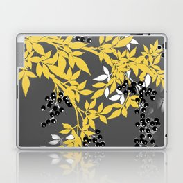 TREE BRANCHES YELLOW GRAY  AND BLACK LEAVES AND BERRIES Laptop & iPad Skin