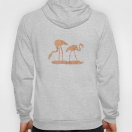 Gold Leaf Flamingo Pattern Hoody