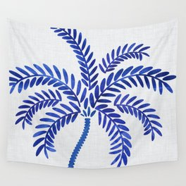 Cobalt Silhouette - Blue Palm Wall Tapestry