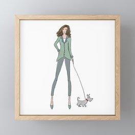 Fashion Girl walking her dog Framed Mini Art Print