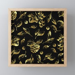 Faux gold foil grapes and leafs pattern on black Framed Mini Art Print
