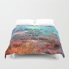 Rumi Inspirational JOY Quotation With Underwater Ocean Scene Duvet Cover