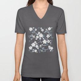 Navy and white cherry blossom pattern Unisex V-Neck