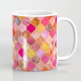Hot Pink, Gold, Tangerine & Taupe Decorative Moroccan Tile Pattern Coffee Mug