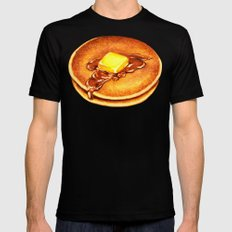 Pancakes Pattern 2X-LARGE Mens Fitted Tee Black