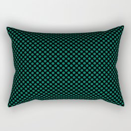 Black and Ultramarine Green Polka Dots Rectangular Pillow