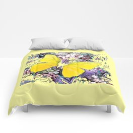 CONTEMPORARY YELLOW  BUTTERFLY FLOWER FLORAL DRAWING Comforters