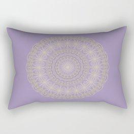 Lotus Mandala in Lavender and Gold Rectangular Pillow