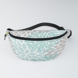 Floral Pattern, Teal, Aqua, Turquoise,Gray Fanny Pack
