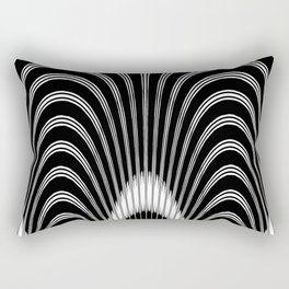 Black and White Geometric Arches Rectangular Pillow