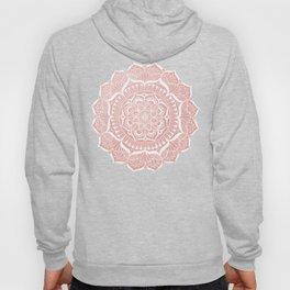 White Flower Mandala on Rose Gold Hoody
