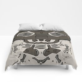 skull head and bone graffiti drawing with brown background Comforters