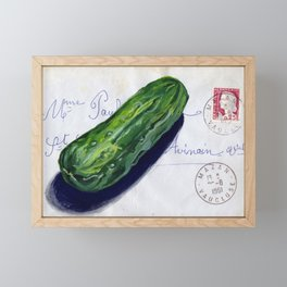 Pickle on French Envelope in Gouache Framed Mini Art Print