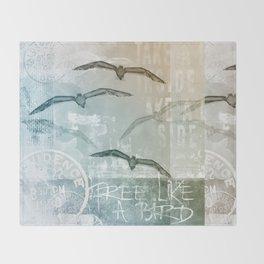 Free Like A Bird Seagull Mixed Media Art Throw Blanket
