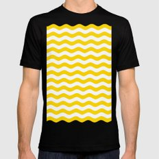 Wavy Stripes (Gold/White) Mens Fitted Tee Black MEDIUM