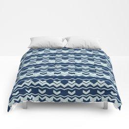 Chevron Arrow Pattern Modern Blue Wavy Stripes Comforters