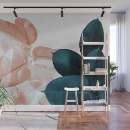 Blush & Blue Leaves Wall Mural