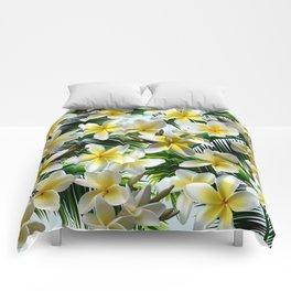 Plumeria on Palm Leaves Comforters