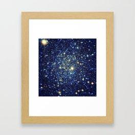 galaxY Stars : Midnight Blue & Gold Framed Art Print