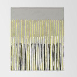 Yellow Rising - abstract stripes in yellow, grey, black & white Throw Blanket