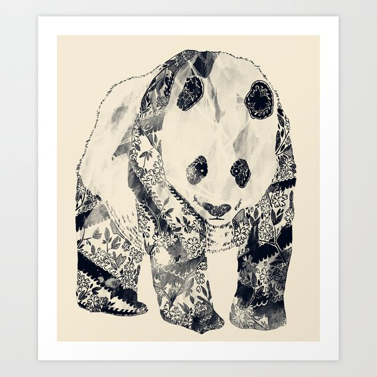 Tattooed Panda {cream} Art Print