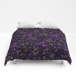 Purple Night Glow Flower Meadow , Rich Fuchsia Pink and Lilac Blooms Glowing in the Dark Black Night Comforters