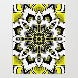 Mandala : Yellow Flower Mandala Bold Poster