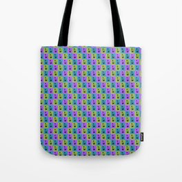 Mid Century Modern Retro Atomic Cats on Purple Green and Blue Tote Bag