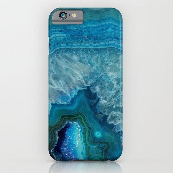 Blue faux druse crystal quartz gem gemstone geode mineral stone science specimen photograph hipster  iPhone & iPod Case