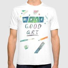 Make Good Art MEDIUM White Mens Fitted Tee