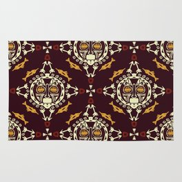 pattern with Tribal mask ethnic on dark Rug