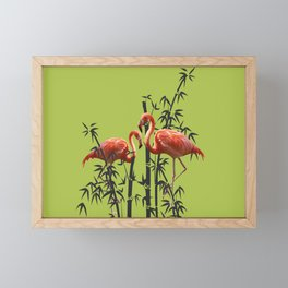 Flamingo Bamboo Leaves green Framed Mini Art Print