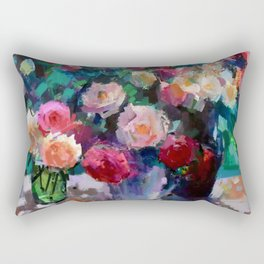 Flowers on The Garden Table Rectangular Pillow