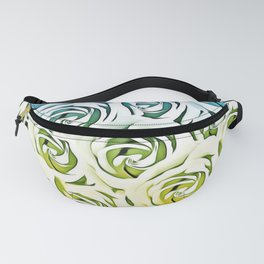 rose pattern texture abstract background in blue and yellow Fanny Pack