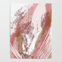 Sugar and Spice: a minimal, abstract mixed-media piece in pink and brown by Alyssa Hamilton Art Poster
