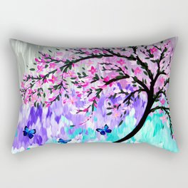 cherry blossom with Ulysses butterflies Rectangular Pillow