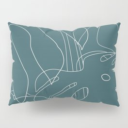 Monstera No2 Teal Pillow Sham